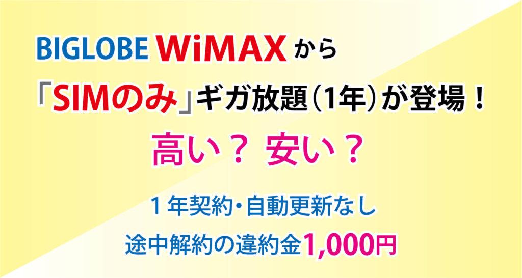【3月】BIGLOBE WiMAXギガ放題(1年)に「SIMのみ」登場!ほぼ縛りなし!?