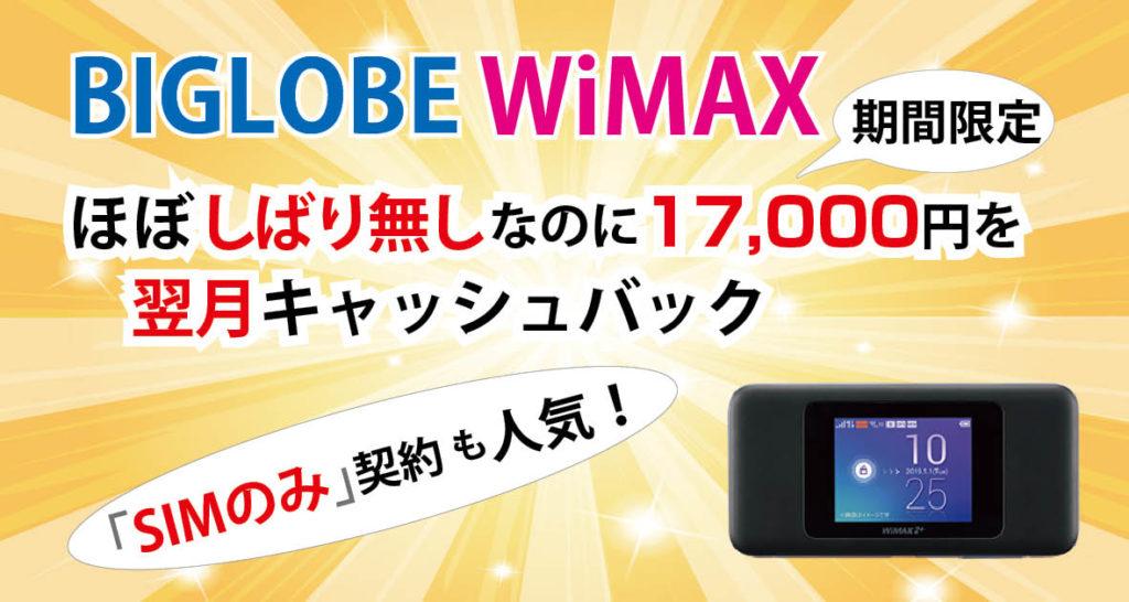 【3月】BIGLOBE WiMAXギガ放題(1年)の「SIMのみ」も人気!ほぼ縛りなし!?